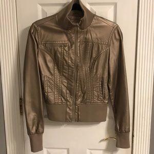 Vegan Leather Bronze Cropped Jacket